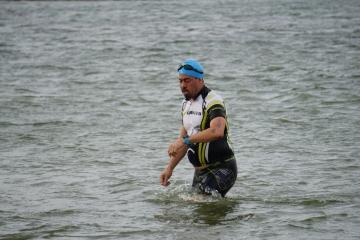 Swim exit - Lake Pflugerville Triathlon